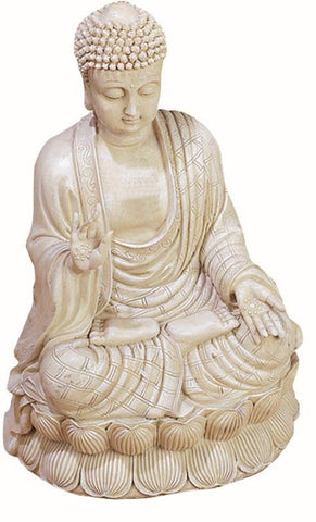 Benzara 75188 Antique White Polystone Buddha Beautifully Carved 12.75 Inches High