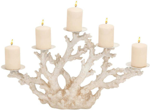 Benzara 76247 Striking Styled Polystone Metal Coral Candle Holder