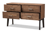 Baxton Studio Selena-Caramel/Brown-Dresser Selena Mid-Century Modern Brown Wood 4-Drawer Dresser