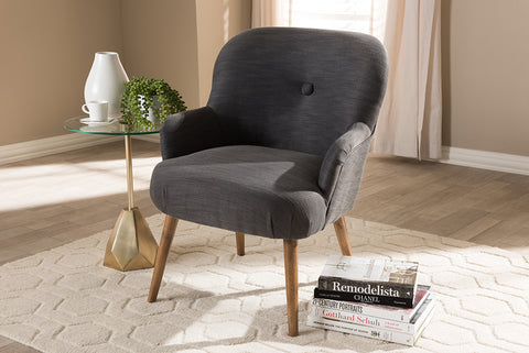 Baxton Studio BBT5287-Grey-CC Linnea Mid-Century Modern Grey Fabric Upholstered Walnut Finished Wood Lounge Chair