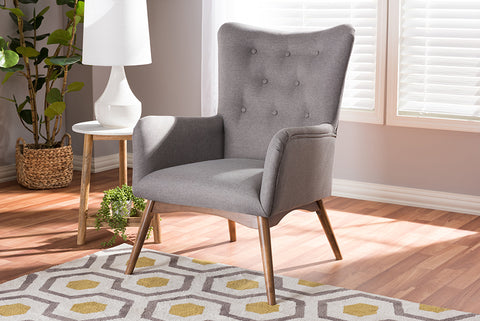Baxton Studio BBT5303-CC-Grey-XD45 Waldmann Mid-Century Modern Grey Fabric Upholstered Lounge Chair