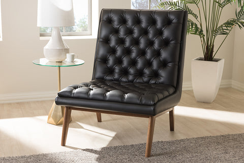 Baxton Studio BBT5272-Pine Black-CC Annetha Mid-Century Modern Black Faux Leather Upholstered Walnut Finished Wood Lounge Chair