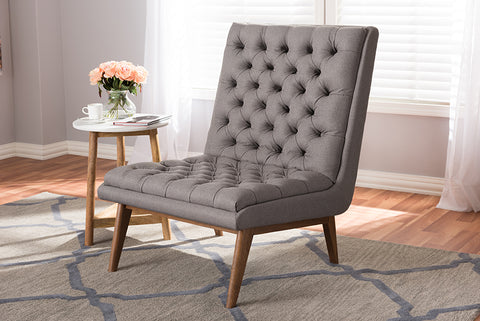 Baxton Studio BBT5272-Grey-CC-XD45 Annetha Mid-Century Modern Grey Fabric Upholstered Walnut Finished Wood Lounge Chair