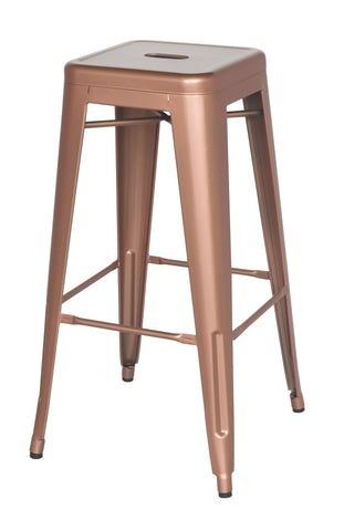 Chintaly 8015-BS-ROSE-GLD Galanized Steel Bar Stool ( Set of 4 )