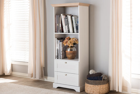 Baxton Studio Anna-2DW-Sonoma/White Anna Modern and Contemporary Oak and White Two-Tone Bookcase