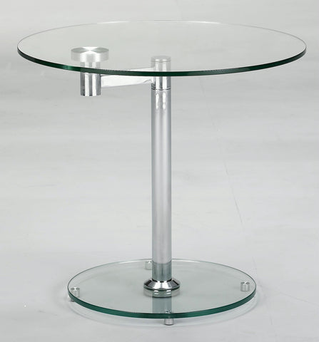 Chintaly 8090-LT 8090 Round Glass Lamp Table