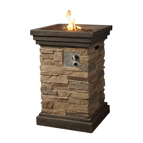 Teamson HF29402A Peaktop - Outdoor Slate Rock Square Column Gas Fire Pit