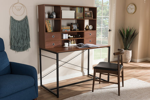 Baxton Studio WS12202-Coffee/Black Edwin Rustic Industrial Style Brown Wood and Metal 2-in-1 Bookcase Writing Desk
