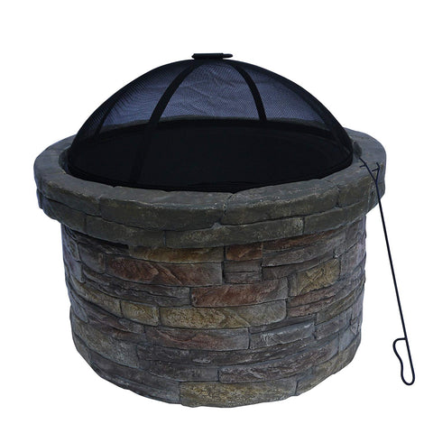 Teamson HR22818AA Peaktop - Outdoor Round Stone Fire Pit with Cover