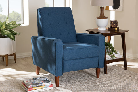 Baxton Studio 1705-Blue Mathias Mid-century Modern Blue Fabric Upholstered Lounge Chair
