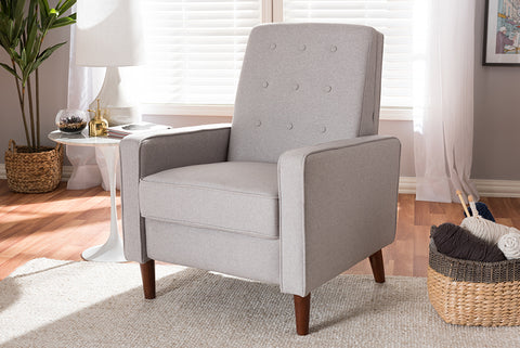 Baxton Studio 1705-Light Gray Mathias Mid-century Modern Light Grey Fabric Upholstered Lounge Chair