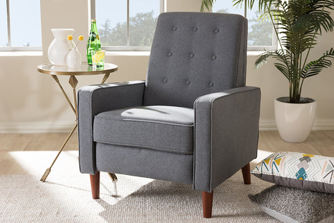Baxton Studio 1705-Gray Mathias Mid-century Modern Grey Fabric Upholstered Lounge Chair