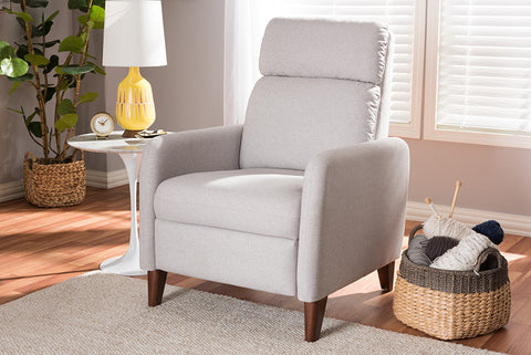 Baxton Studio 1707-Light Gray Casanova Mid-century Modern Light Grey Fabric Upholstered Lounge Chair