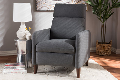 Baxton Studio 1707-Gray Casanova Mid-century Modern Grey Fabric Upholstered Lounge Chair