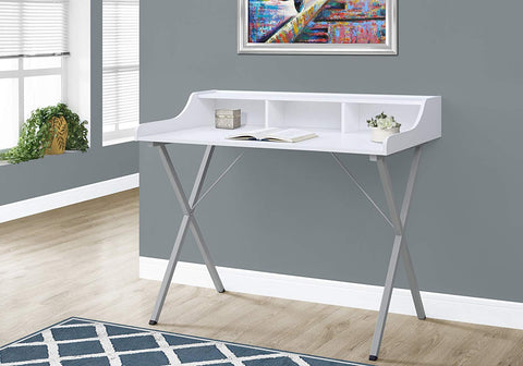 "Monarch Computer Desk - 48""L / White / Silver Metal"