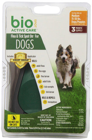 Central 18238 Bio Spot Active Care Flea & Tick Spot On, Dogs Medium 1530 lbs, 3 Months - Peazz Pet