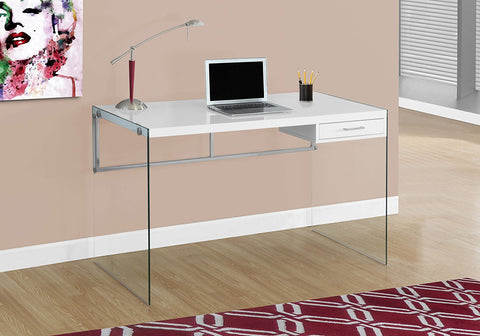 Monarch Computer Desk, Glossy White, 48""