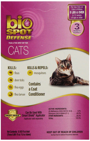 Bio Spot Spot On F/T Cat Over 5 lbs 3 Month - Peazz Pet