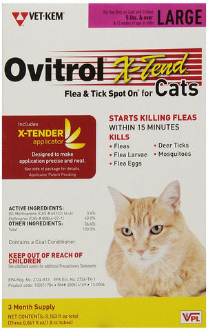 Ovitrol X-Tend Flea & Tick Spot On For Cats - Large (5 lbs and over), 3 Month - Peazz Pet