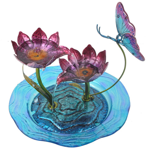 Teamson 3215240A Peaktop - Home Decor Butterfly Fusion Glass Tabletop Water Fountain
