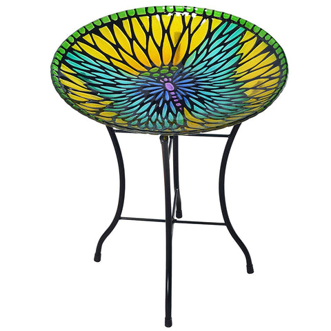 Teamson 3208930 Peaktop - Outdoor 18-Inch Mosaic Butterfly Fusion Glass Bird Bath w/ Stand