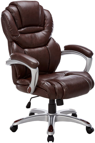 Flash Furniture GO-901-BN-EMB-GG Embroidered High Back Brown Leather Executive Office Chair with Leather Padded Loop Arms - Peazz Furniture