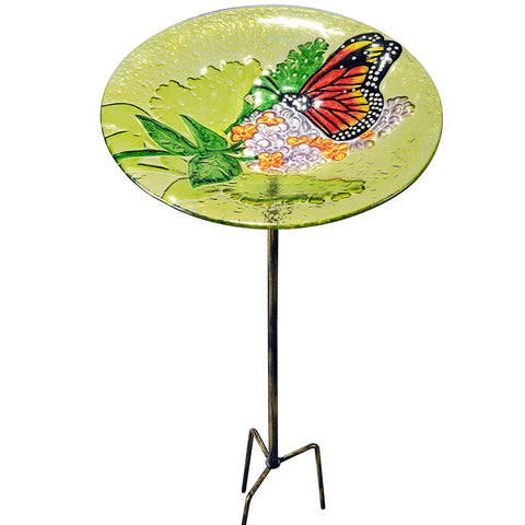 Teamson 2212460 Peaktop - Outdoor 11-Inch Butterfly Fusion Glass Bird Feeder