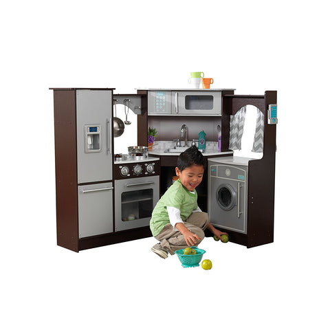 KidKraft 53365 Ultimate Corner Play Kitchen with Lights & Sounds - Espresso