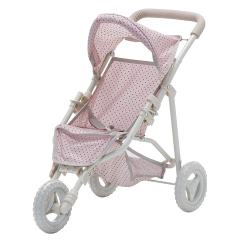 Teamson OL-00002 Olivia's Little World - Polka Dots Princess Baby Doll Jogging Stroller - Pink & Grey