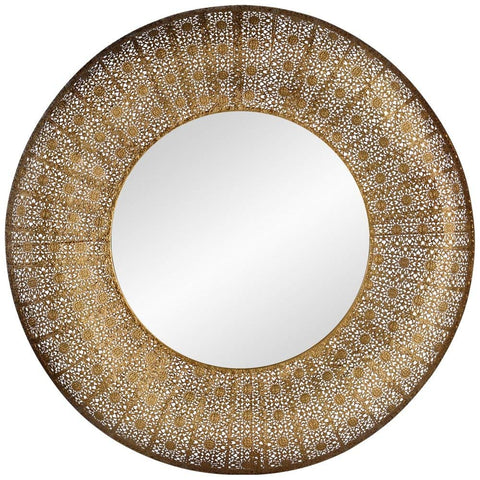 "Aristo Hand-Painted Gold 28 3/4"" Round Wall Mirror"