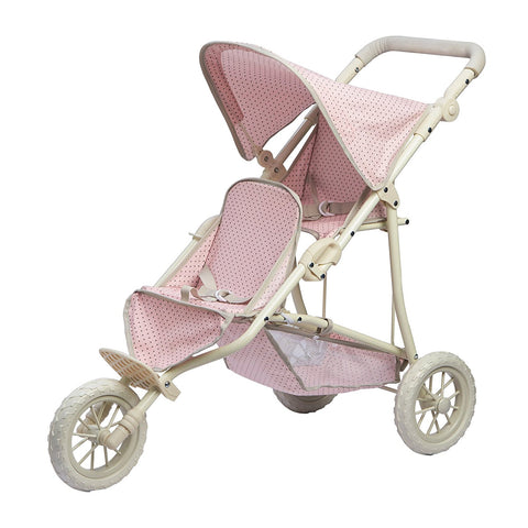 Teamson OL-00004 Olivia's Little World - Polka Dots Princess Baby Doll Twin Jogging Stroller - Pink & Grey