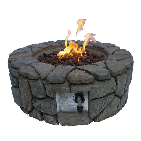 Teamson HF09501AA Peaktop - Outdoor Stone Propane Gas Fire Pit