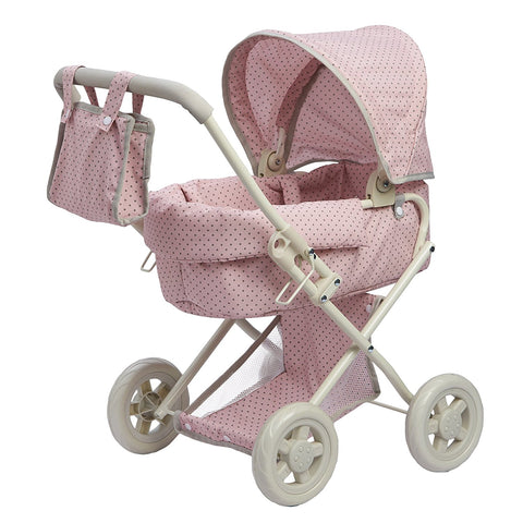 Teamson OL-00003 Olivia's Little World - Polka Dots Princess Baby Doll Deluxe Stroller - Pink & Grey