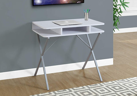 Monarch Computer Desk, White/Silver, 31""
