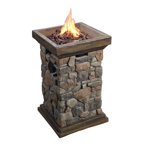 Teamson HF29502BA Peaktop - Outdoor Natural Slate Rock Square Column Propane Gas Fire Pit