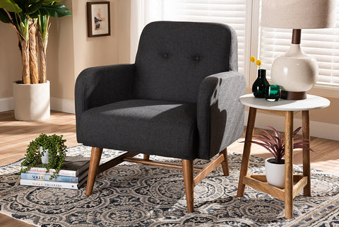 Baxton Studio BBT5316-Dark Grey Perrine Mid-Century Modern Dark Grey Fabric Upholstered Walnut-Finished Wood Lounge Chair