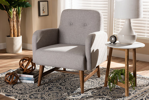 Baxton Studio BBT5316-Greyish Beige Perrine Mid-Century Modern Greyish Beige Fabric Upholstered Walnut-Finished Wood Lounge Chair