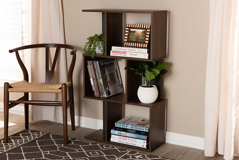 Baxton Studio SEDV5004-Columbia Brown/Dark Grey-Shelf Legende Modern and Contemporary Brown and Dark Grey Finished Display Bookcase