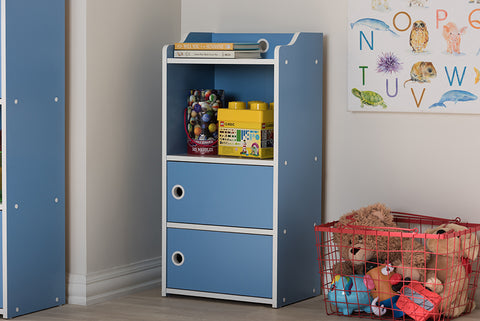 Baxton Studio BC13-Blue/White-Bookcase Aeluin Contemporary Children's Blue and White Finished 2-Door Bookcase