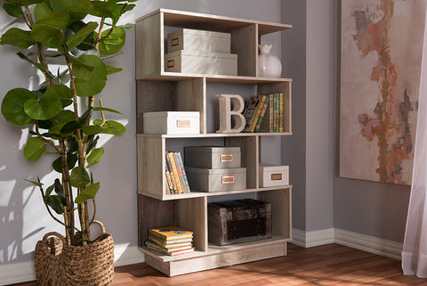 Baxton Studio MH1165-Oak-Bookcase Teagan Modern and Contemporary Oak Finished Display Bookcase