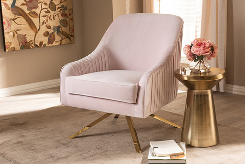 Baxton Studio TSF-7726-Light Pink/Gold Amaya Luxe and Glamour Light Pink Velvet Fabric Upholstered Gold Finished Base Lounge Chair