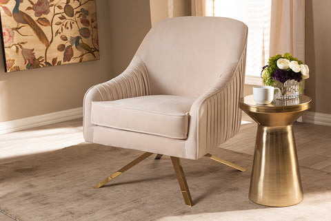 Baxton Studio TSF-7726-Light Beige/Gold Amaya Luxe and Glamour Light Beige Velvet Fabric Upholstered Gold Finished Base Lounge Chair