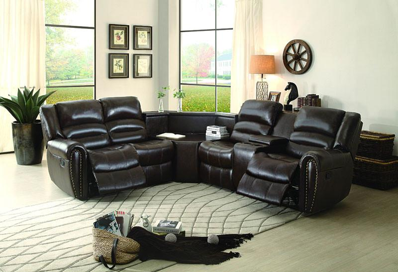 Homelegance Color Dark Brown Bonded Leather Match Only Right Side Reclining Love Seat Cente