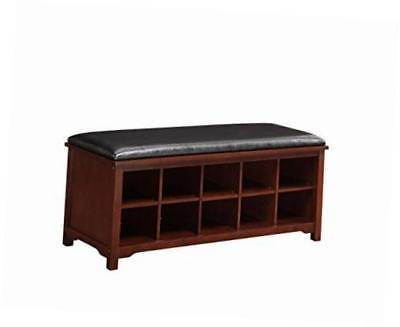 Linon 850020WAL01U Cape Anne Dark Walnut Bench