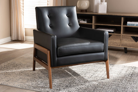 Baxton Studio BBT8042-Black-CC Perris Mid-Century Modern Black Faux Leather Upholstered Walnut Wood Lounge Chair
