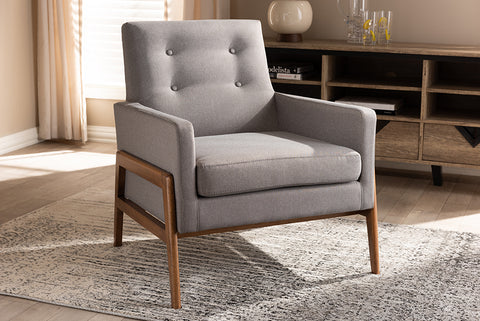 Baxton Studio BBT8042-Grey-CC Perris Mid-Century Modern Grey Fabric Upholstered Walnut Wood Lounge Chair