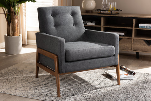Baxton Studio BBT8042-Dark Grey-CC Perris Mid-Century Modern Dark Grey Fabric Upholstered Walnut Wood Lounge Chair