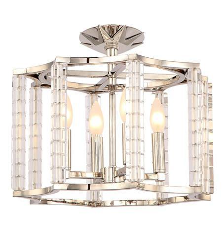 Crystorama 8854-PN_CEILING Carson Polished Nickel 4 Light Ceiling Mount Convertible