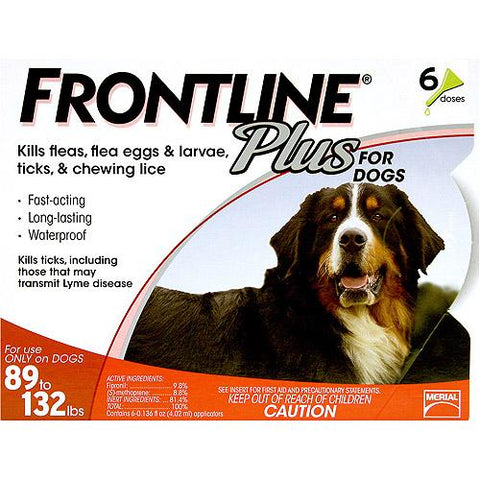 Frontline 89-132-6PK-PS Flea Control Plus for Dogs And Puppies 89-132 lbs 6 Pack