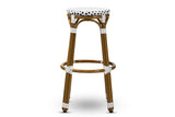 Baxton Studio WA-4123-Navy/White-BS Joelle Classic French Indoor and Outdoor Navy and White Bamboo Style Stackable Bistro Bar Stool